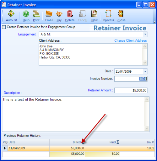 Retainer Invoice Screen